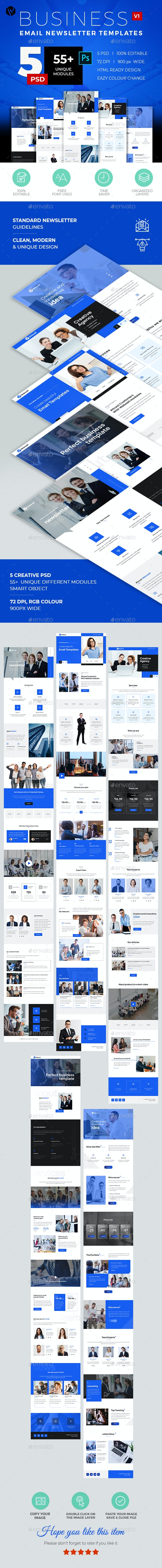 5 Email Newsletter PSD Templates V1 - E-newsletters Web Elements