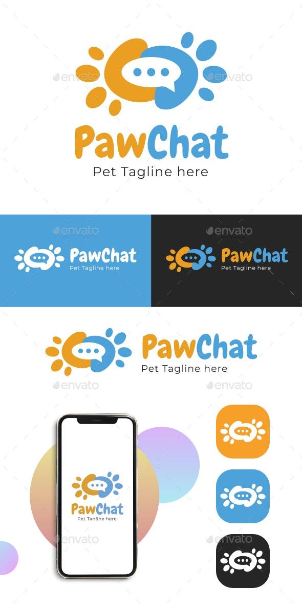 Paw Chat logo - Pet Chat Logo - Animals Logo Templates