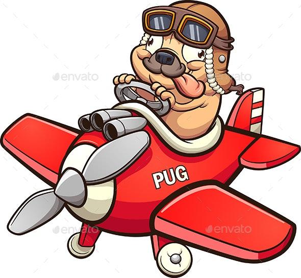 Pilot Pug - Animals Characters