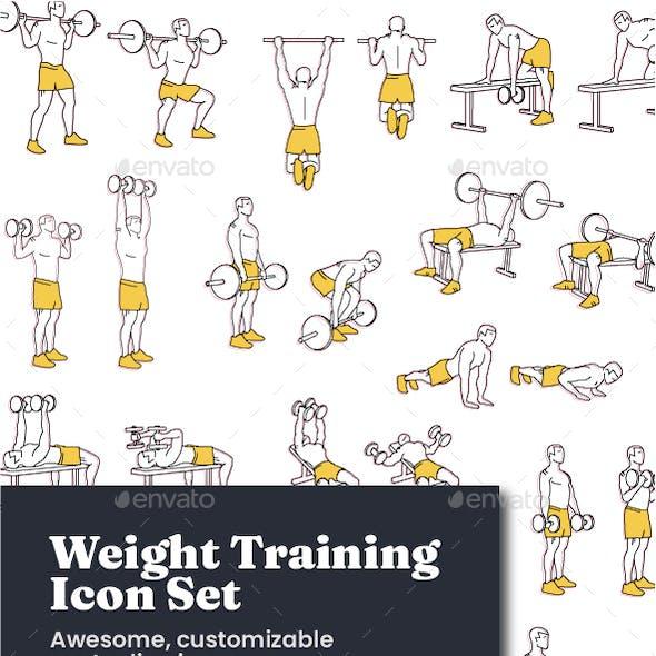 Fitness & Weight Training Icon Set