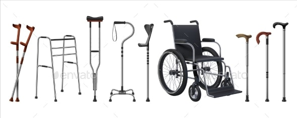 Realistic Wheelchairs and Canes - Health/Medicine Conceptual
