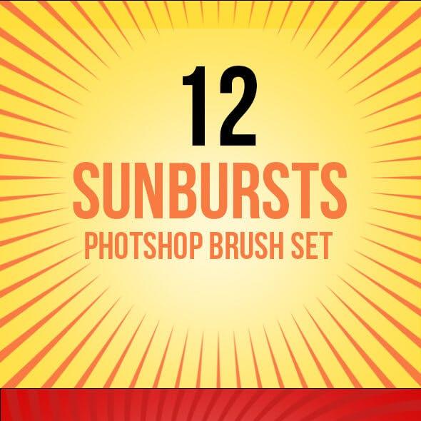 12 Sunbursts Photoshop Brush Set