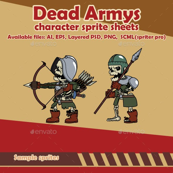 Dead Army Enemy Character Sprite Sheets