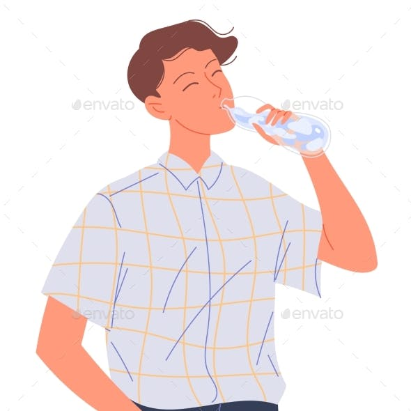 Young Man Drinks Water From a Bottle