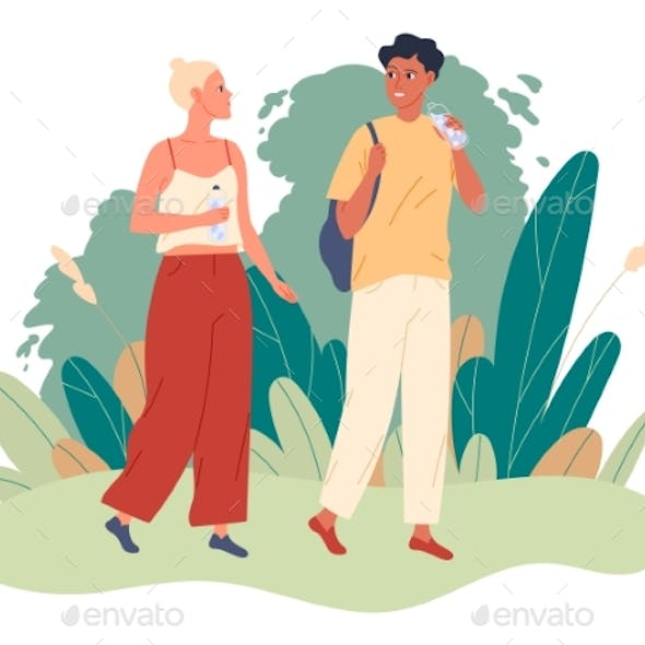 Couple Walks in the Park and They Drink Water