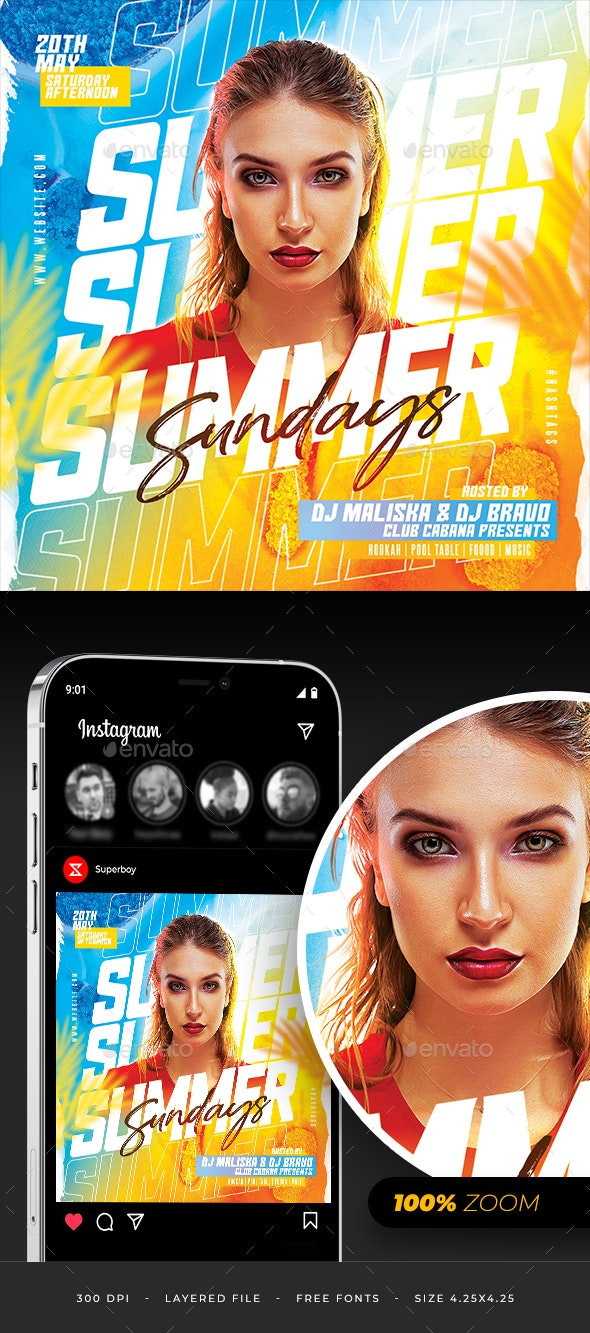 Summer Sunday  Party Flyer - Clubs & Parties Events