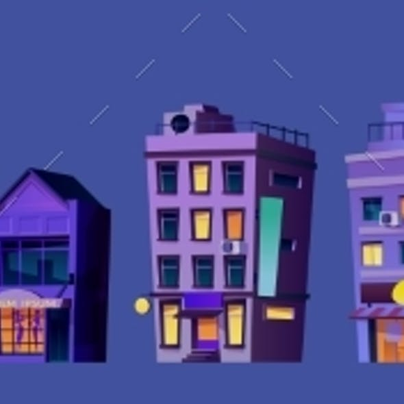 City Buildings Business Finance Centers at Night