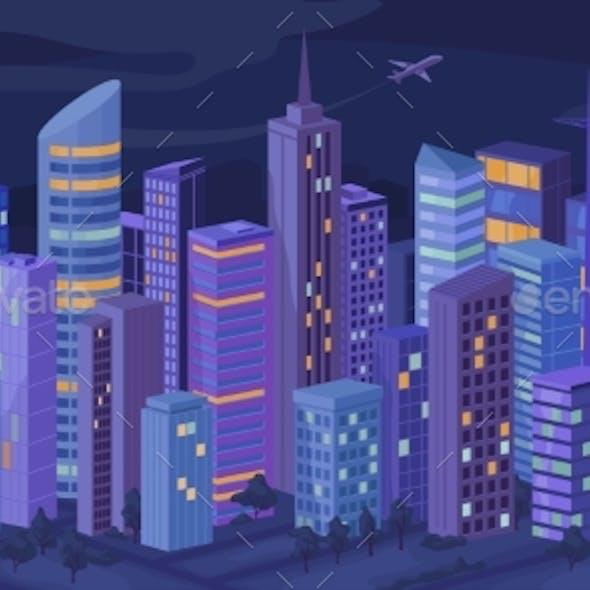 Urban Building Skyscrapers Night City Panorama