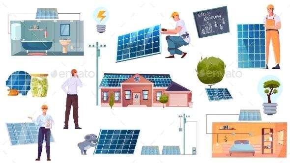 Solar Energy Flat Icons Set - Objects Vectors