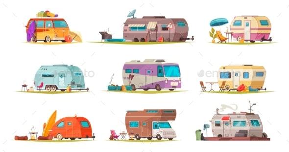 Recreational Vehicles Cartoon Set - Man-made Objects Objects