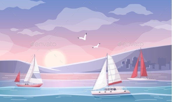 Yachting Bay Cartoon Composition - Landscapes Nature