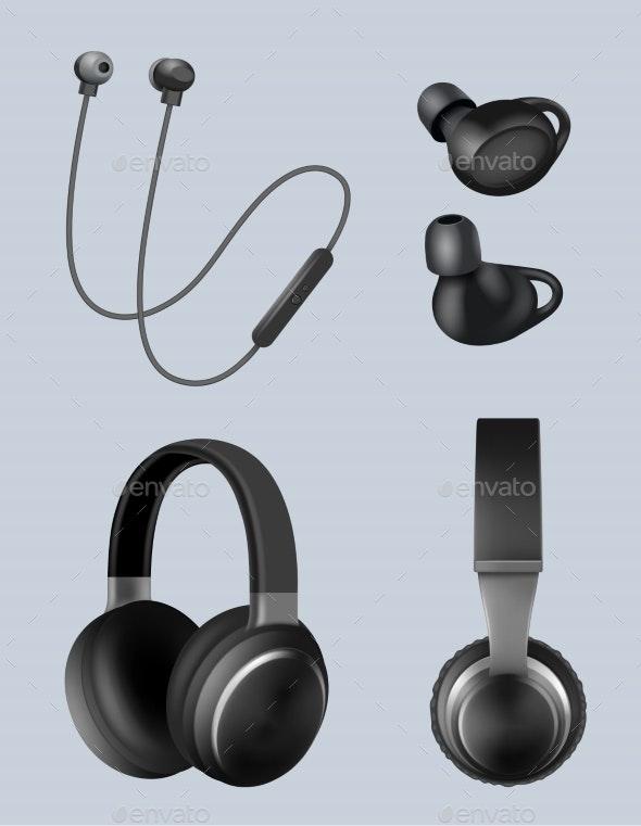 Realistic Headphones - Miscellaneous Vectors