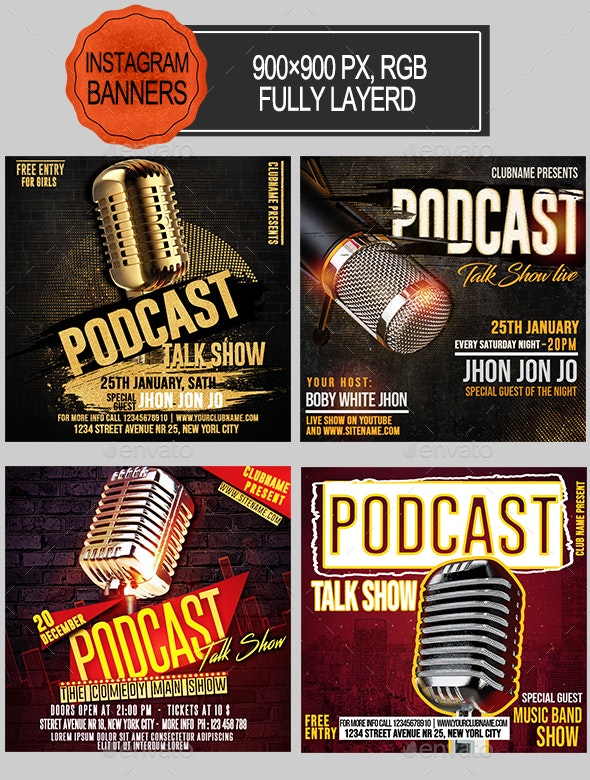 Podcast Show Instagram Banners - Banners & Ads Web Elements
