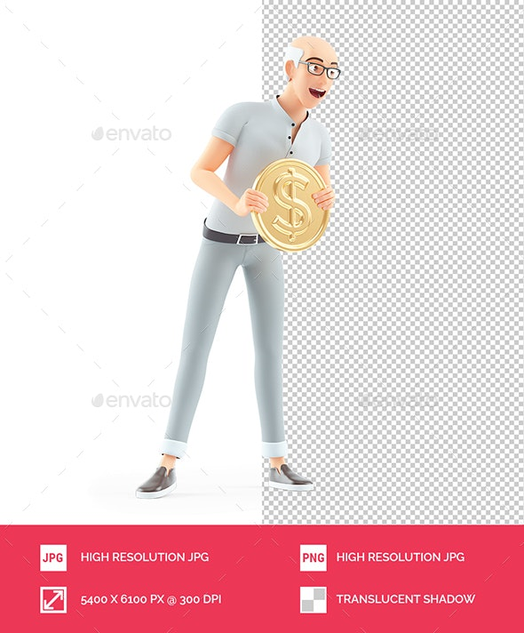 3D Senior Man Holding Gold Coin - Characters 3D Renders