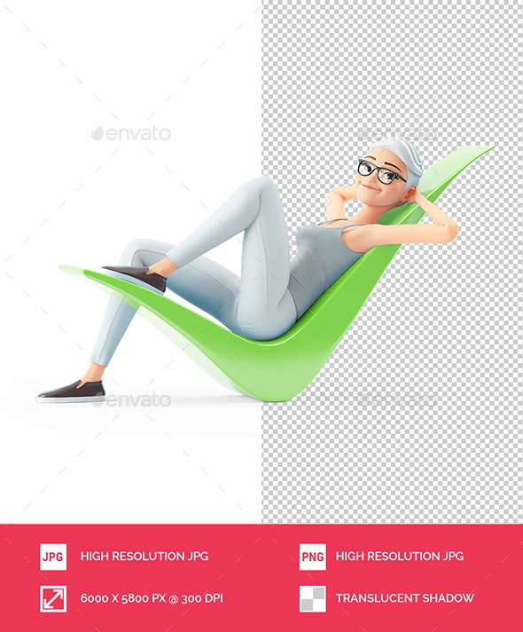 3D Senior Woman Lying Down on Check Mark - Characters 3D Renders
