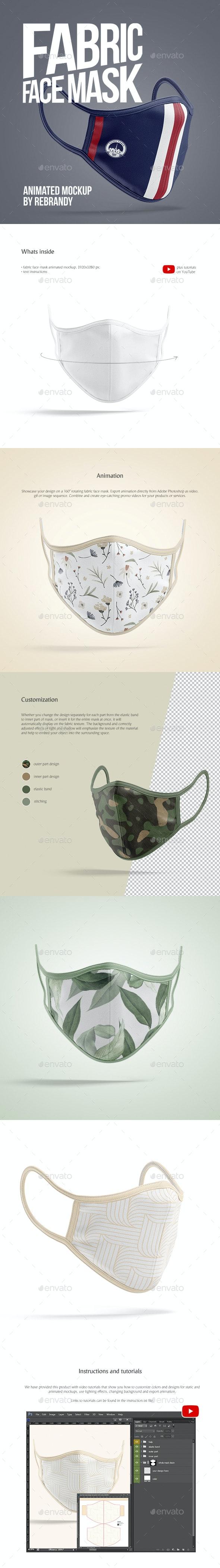 Fabric Face Mask Animated Mockup - Product Mock-Ups Graphics