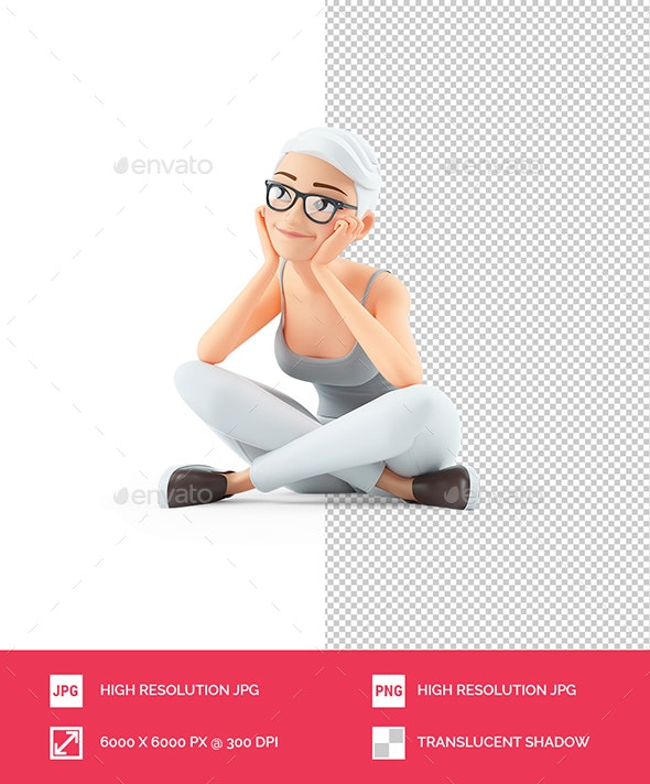 3D Senior Woman Sitting on Floor and Thinking - Characters 3D Renders