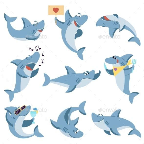 Cute Sharks Set - Animals Characters