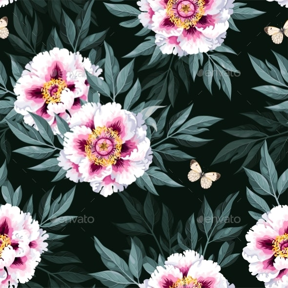 Vector Seamless Pattern with White Tree Peony - Flowers & Plants Nature