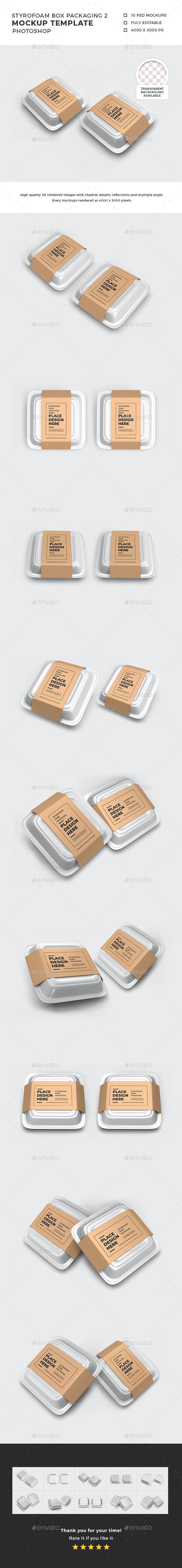 Styrofoam Box Packaging Mockup Template 2 - Food and Drink Packaging