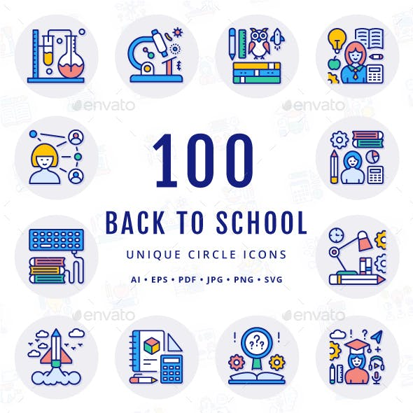 Back to School Unique Circle Icons