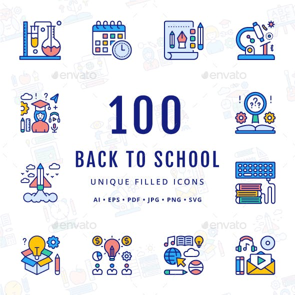 Back to School Unique Filled Icons