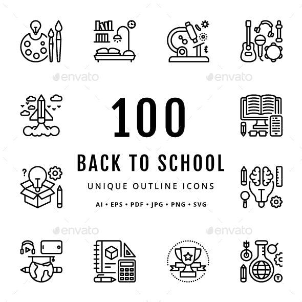 Back to School Unique Outline Icons