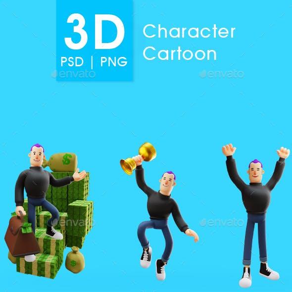 Three Pose of 3D Cartoon Character