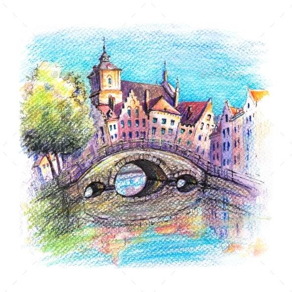 Bruges Canal with Bridge Belgium - Illustrations Graphics