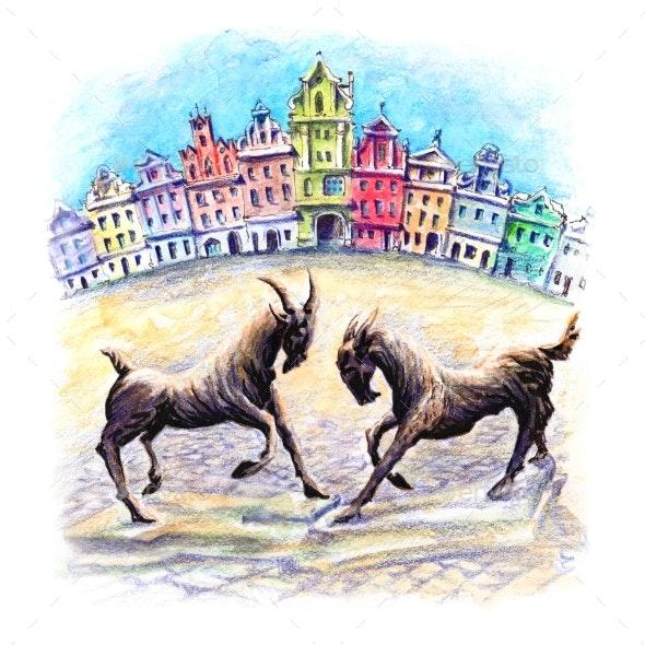 Poznan Goats Poland - Urban Backgrounds