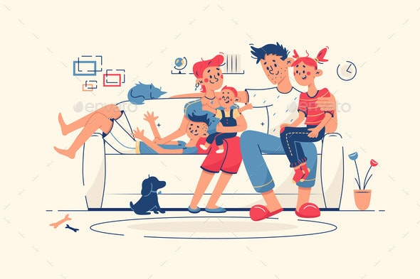 Family Together at Home on Sofa - People Characters