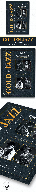 Golden Jazz Flyer Template V5 - Concerts Events