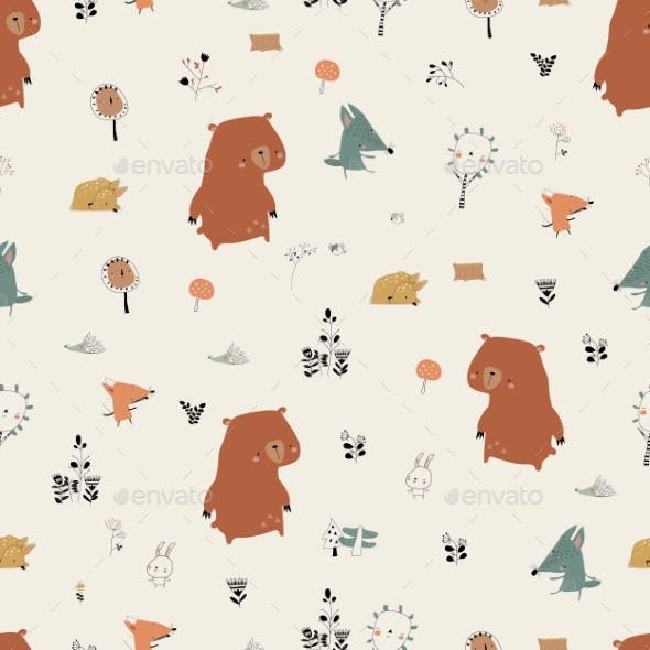 Seamless Pattern with Cute Animals in Autumn
