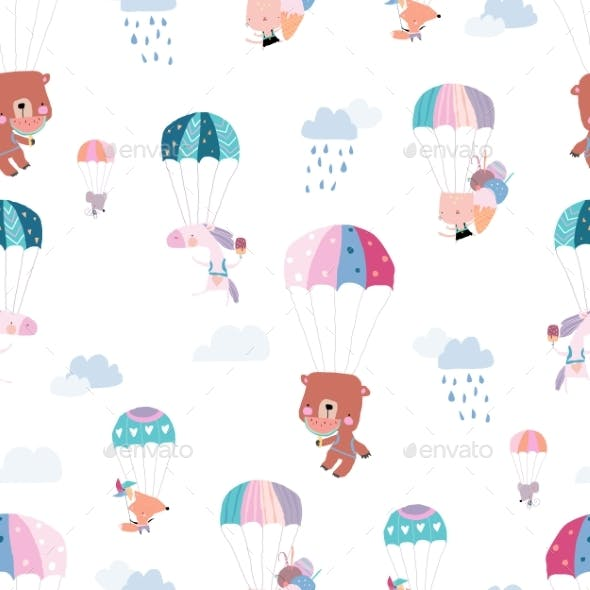 Seamless Pattern with Happy Animals Flying with