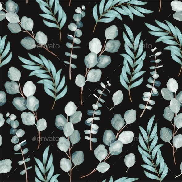 Vector Seamless Pattern with Branch of Eucalyptus - Flowers & Plants Nature