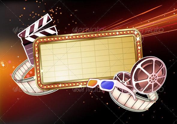 Movie marque sign  - Borders Decorative