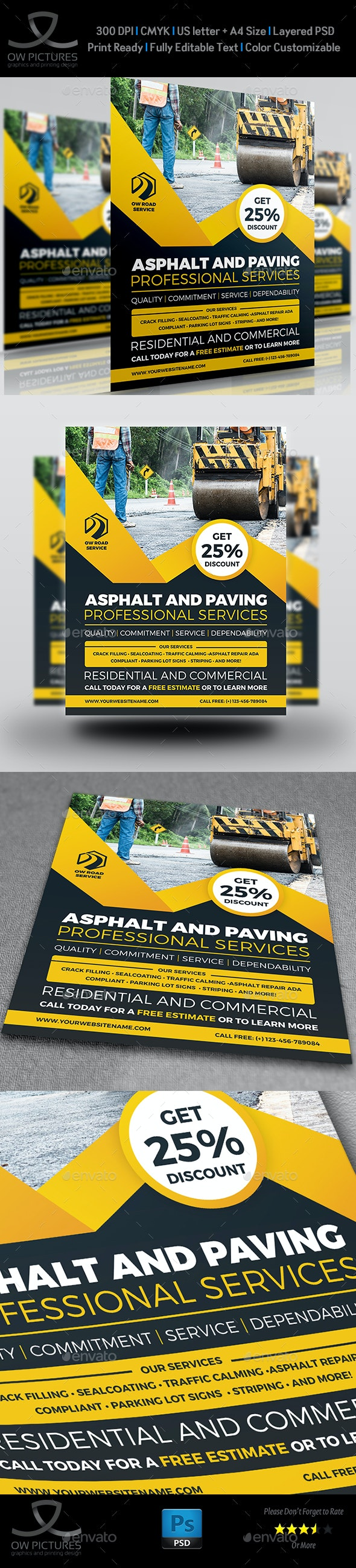 Asphalt and Paving Services Flyer Template - Flyers Print Templates