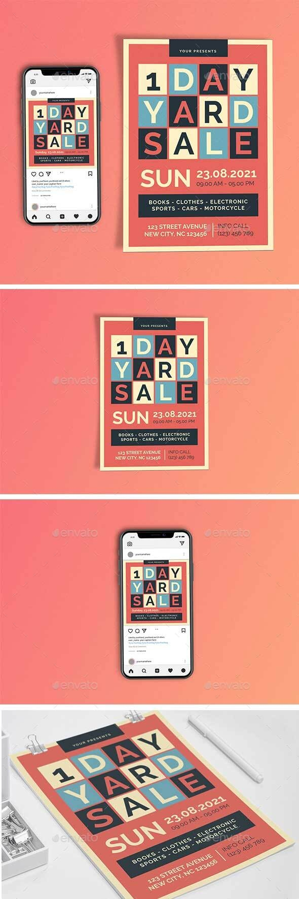 1 Day Yard Sale Template Set - Flyers Print Templates