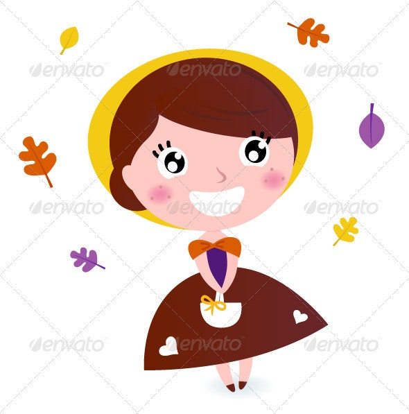 Cute girl with autumn leaves isolated on white - People Characters