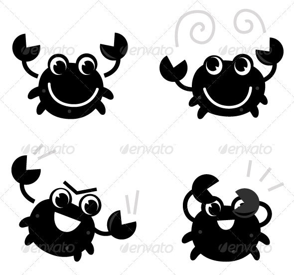 Cute black crab set isolated on white - Animals Characters