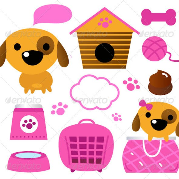 Cute dog accessories collection isolated on white