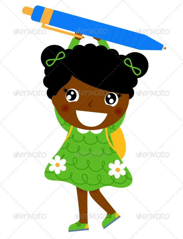 Little cute dark skin girl holding pen - Characters Vectors