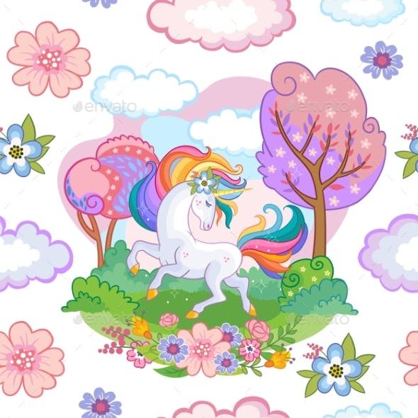 Seamless Vector Pattern with Dreaming Unicorn