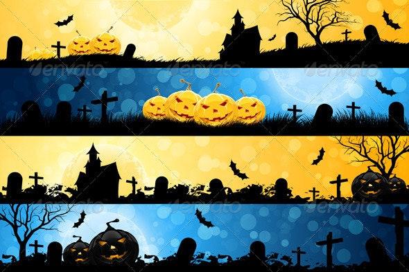 Four Halloween Banners - Halloween Seasons/Holidays