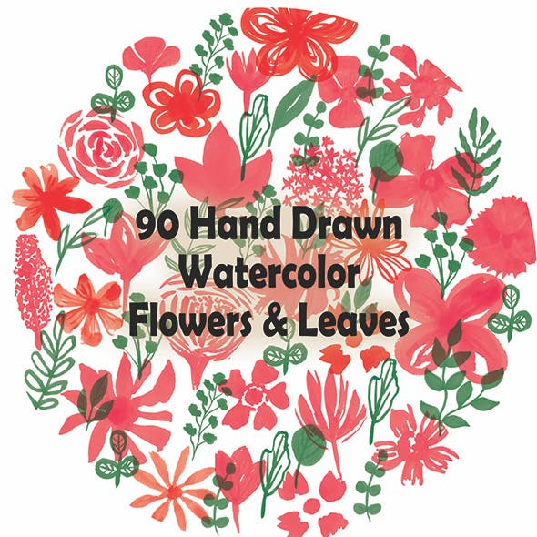 90 Watercolor Flowers And Leaves Set Photoshop Brushes