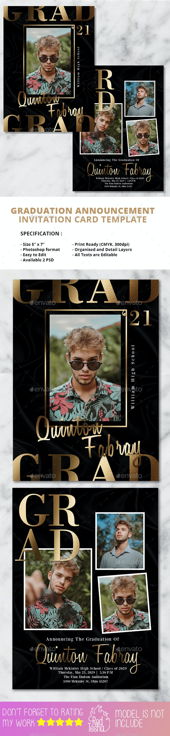 2 PSD Graduation Invitation Card - Cards & Invites Print Templates