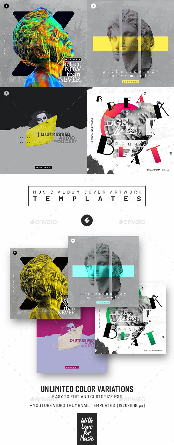 Music Album Cover Artwork Templates Bundle 65 - Miscellaneous Social Media