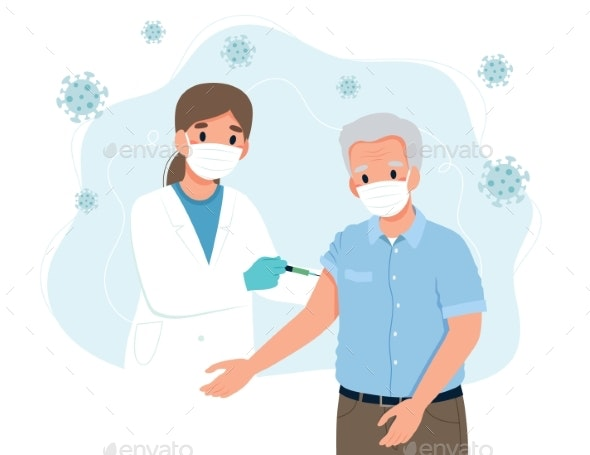 Vaccination for the Elderly Senior Man  - Health/Medicine Conceptual