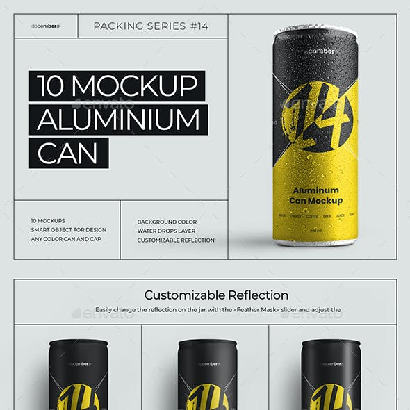 10 Mockup Aluminium Can 250 ml With Water Drops