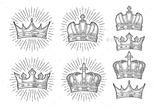 Four Different King Crowns - Objects Vectors